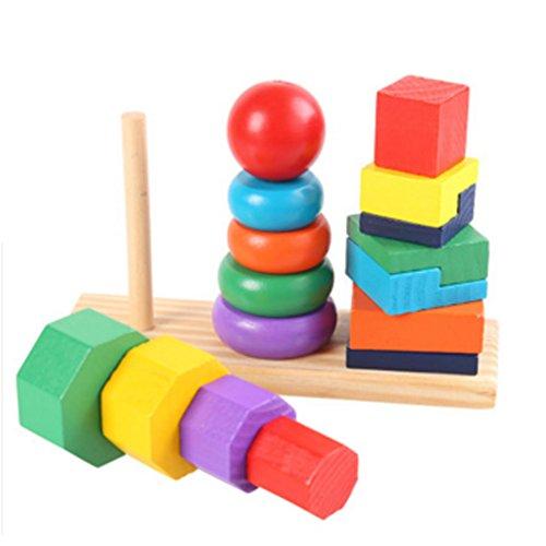 Holzfarben frühe pädagogische Shape-Spiel Überlagerte Block-Spielwaren