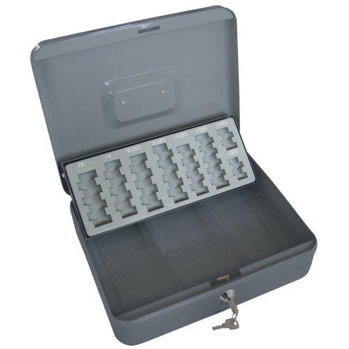 Jago Geldkassette Kasse mit 2 Schlüssel inkl. Münzeinsatz und Geldscheinfach 30 x 24 x 9 cm in 2 verschiedenen Farben