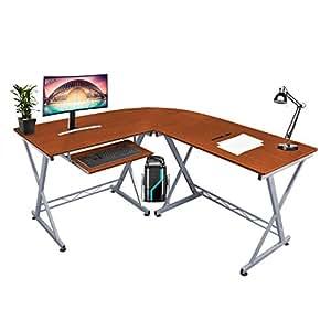 kendan alicorn noyer grand bureau d 39 ordinateur en forme angle station de travail pour maison. Black Bedroom Furniture Sets. Home Design Ideas