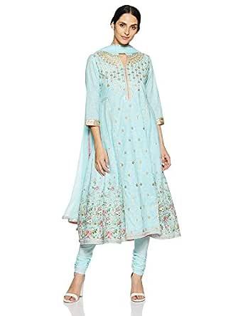BIBA Women's synthetic straight Salwar Suit Set (SKD5858_ Sky Blue_ M (34))