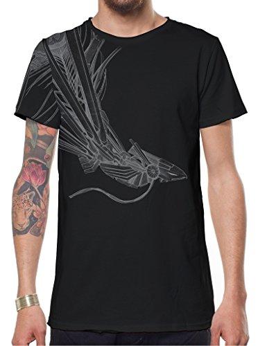Herren T-Shirt Schwarz Phoenix Vogel Grafikdruck Alternativ Festival Top Schwarz