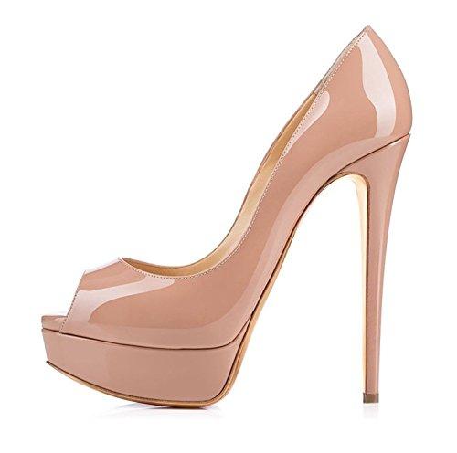Edefs - scarpe col tacco donna - donna decolté peep toe - tacco alto con plateau a spillo - beige - eu38