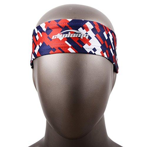 Stirnband COOLOMG (1Stück) Schweißleder Breath Sport Sweatband Alle Größen For Männer und Frauen 6 Farben US-Flagge Rot Blau (Us Flagge Kleid)