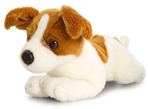 Keel Toys Animale di peluche Cane Jack Russell Terrier, animale da coccolare sdraiato di 30 cm circa insieme al burro per il corpo, 7ml