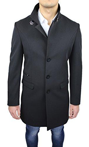 Cappotto uomo sartoriale Alessandro Gilles made in Italy nero casual elegante giaccone lungo (XXL)