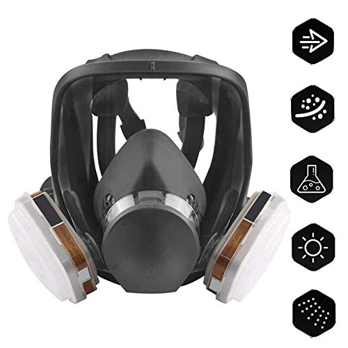 ACLBB Vollgesichts-Atemschutzgerät Mit Atemmaske Mit 4 Aktivkohle-Atemschutzmasken, Sprühfarbe/Feuerschutz / Antibeschlag
