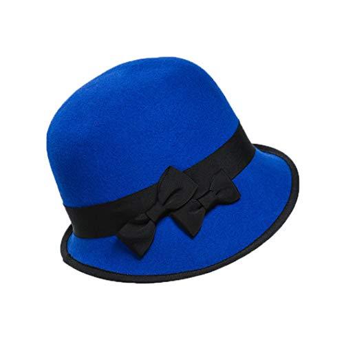 GOUNURE Vintage stilvolle Fedora Hüte für Frauen Floppy Elegante Wollfilz Cloche Eimer Hüte Zylinder Bowler Cap mit Blume -