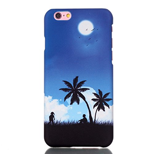 Hard Cas pour Apple iPhone 6 4.7 pouces, Ekakashop iPhone 6s Adorable Amusant Drôle Etui Arrière Protecteur Coque en Plastique Rigide, Motif de Ciel bleu Cocotier Defender Couverture Housse de Protect Ciel bleu Cocotier