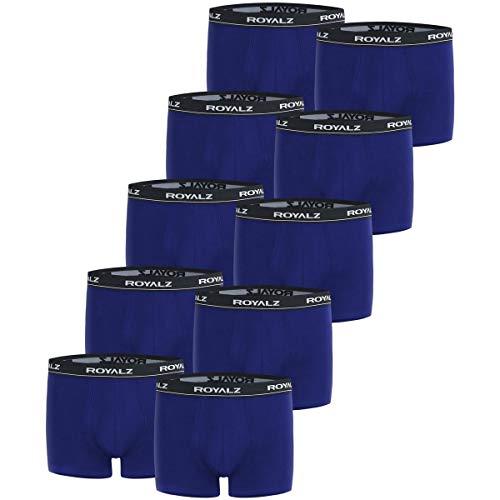ROYALZ Boxershorts (10 Stück) Herren Unterwäsche Set Unterhosen 95% Baumwolle 5% Elasthan, Farbe:Blau, Größe:L
