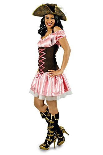 Karneval-Klamotten Piratin Kostüm sexy Piratenkostüm rosa-braun Damen-Kostüm Pirat Karneval Damenkostüm Kleid Größe 46