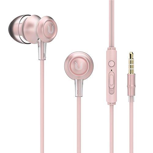 UiiSii US60 Bambus Ohrhörer In-ear Kopfhörer mit Mikrofon, Lautstärkenregler und In-Line Fernbedienung geeignet für Iphone 6, Sony, Samsung, LG, Huawei, HTC usw.(Rosa)