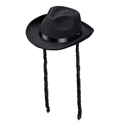 NET TOYS Jüdischer Hut mit Schläfenlocken Rabbihut mit Zöpfen Rabbi Kopfbedeckung Rabbiner Juden Hut (Hut Mit Zöpfen)