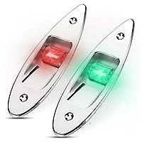 Fydun 12V LED Flush Mount Side Bow Navigation Signal Light 2Pcs 120° Lamp for Marine Boat Yacht Green 61.5lm&Red 19lm
