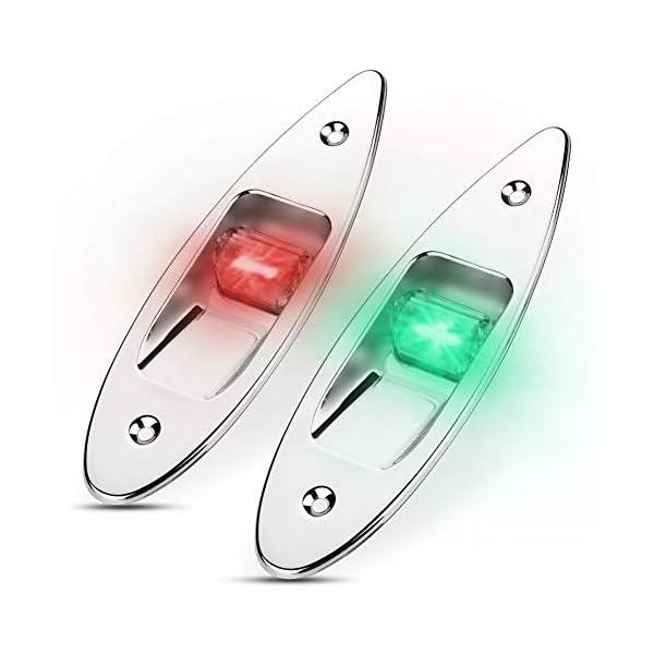 Fydun 12V LED Flush Mount Side Bow Navigation Signal Light 2Pcs 120° Lamp for Marine Boat Yacht Green 61.5lm&Red 19lm 1