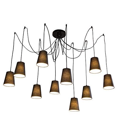 Moderne mode große spinne geflochtene kronleuchter weiß schwarz stoffschirme diy 10 köpfe cluster von hängen deckenleuchte beleuchtung (Schwarz) -