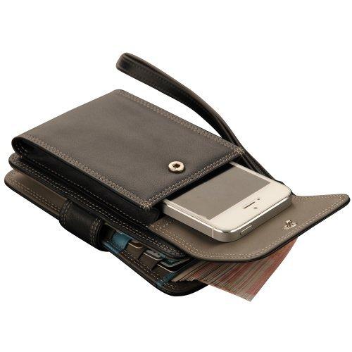 Oneworld Herren Rindleder Clutch Handyetui Universalbörse Geldbörse Börse Geldbeutel Geldtasche Portemonnaie 15x10x2.5cm(BxHxT) Dunkel Blau