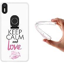 Funda Bq Aquaris X5 Plus, WoowCase [ Bq Aquaris X5 Plus ] Funda Silicona Gel Flexible Keep Calm and Love, Carcasa Case TPU Silicona - Transparente