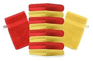 10er Pack Waschhandschuhe Waschlappen Premium Größe: 16x21 cm Farbe: Gelb & Rot, Kordelaufhänger, 100% Baumwolle