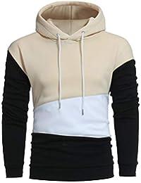 BUSIM Men's Long Sleeved Sweater Hoodie Stitching Color Pullover Hooded Sweatshirt Jacket Jacket Sports Shirt...