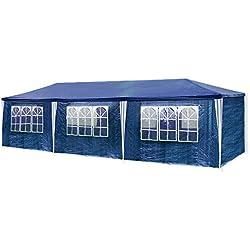 HG Carpa Pabellón 3 x 9 m tienda de campaña de cúpula polietileno Acero tubos con 6 laterales y 2 entradas resistente al agua Incluye 6 paredes desmontables color azul