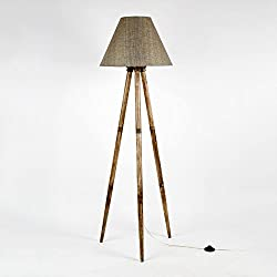 Decorative Cone shape Thick Textured Dark Color Fabric Shade Handmade Wooden Tripod Floor Lamp