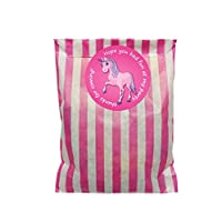 Pink & white paper party bags with 60mm pink unicorn stickers - 24 of each