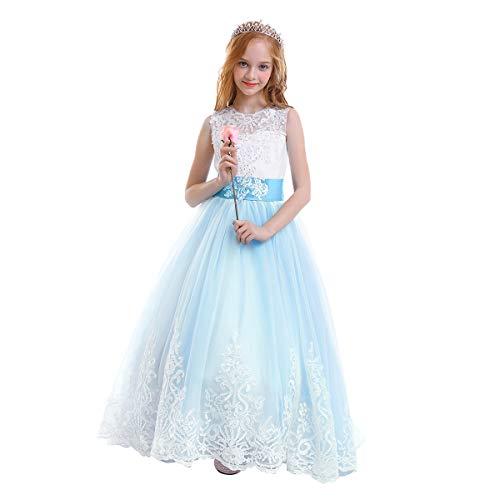 OBEEII Mädchen Spitze Tüll Gestickte Prinzessin Prom Ballkleid Formale Partei Lang Schwanz Kleider 2-3 Jahre Himmelblau -