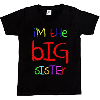 I'm The Big Sister Funny Cool Gift Kids Boy Girl Cotton Short Black Sleeve T-Shirt - Size 3 - 4 Years