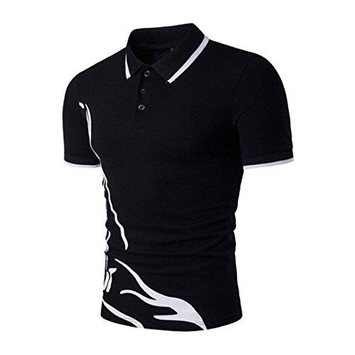 OSYARD 2018 Neue T-Shirt,Männer Slim Sport Tops mit Kurzarm und Stehkragen Freizeithemd, Herren Schlank Casual Polo Shirt mit Statement-Frontdruck