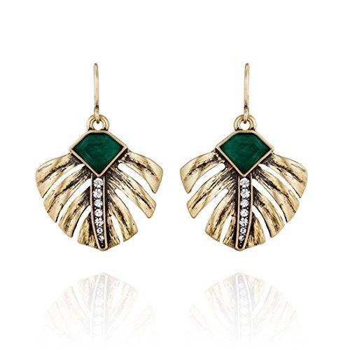 Pendientes estilo Vintaje, con imitación de esmeraldas, modelo hoja de palma, de Lares Domi