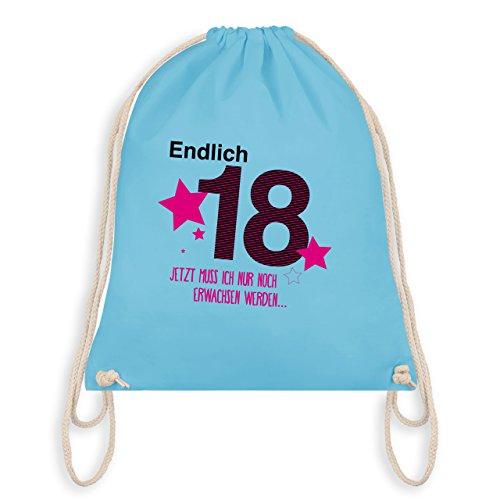 Geburtstag - Endlich 18 - Turnbeutel I Gym Bag Hellblau