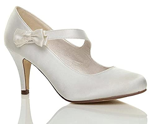 WOMENS LADIES MID HIGH HEEL STRAP BOW WEDDING BRIDAL EVENING SHOES SIZE 4 37