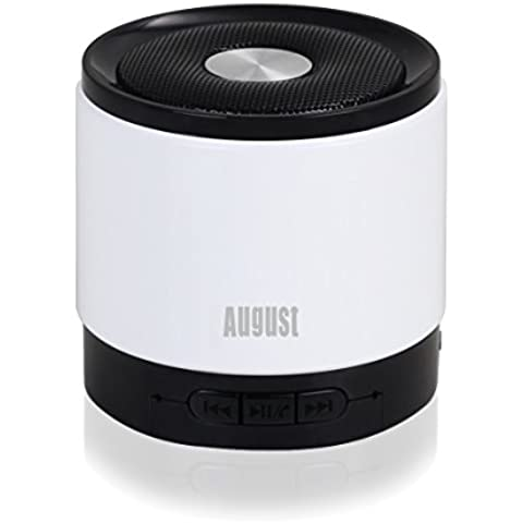 August MS425 - Mini Altoparlante Bluetooth 4.0 con Microfono - Potente Altoparlante Portatile Senza fili con VivaVoce - Compatibile con gli iPhones, Samsung, Galaxy, Nokia, HTC, Blackberry, Google, LG, Nexus, iPad, Tablet, Telefoni cellulari, Smartphones, PC's, Laptops etc (Bianco) - 3 Hp Diffusore