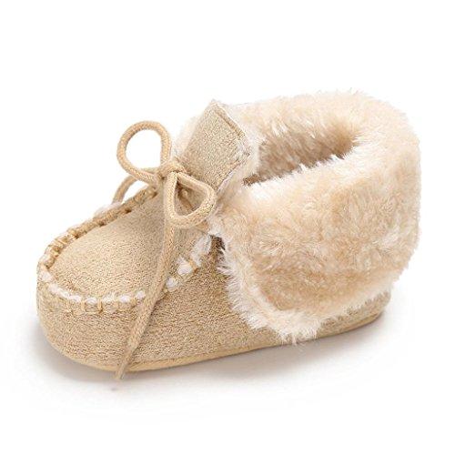 URSING Baby Behalten Warm Weich Sohle Krippenschuhe Anti-Rutsch Kleinkind Taste Wohnungen Baumwolle Wanderschuhe Klassischer Stiefel Freizeit Schnürhalbschuh Winter Krabbelschuhe (12, Beige)