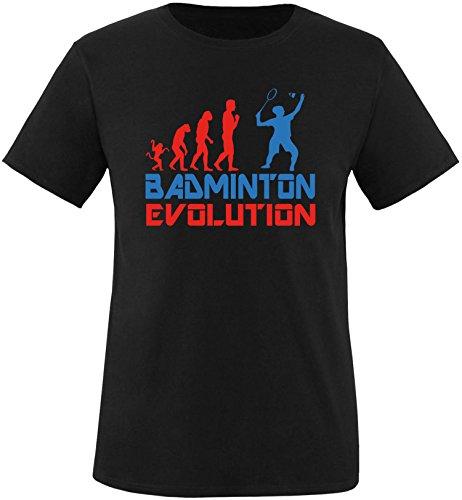 EZYshirt® Badminton Evolution Herren Rundhals T-Shirt Schwarz/Rot/Blau