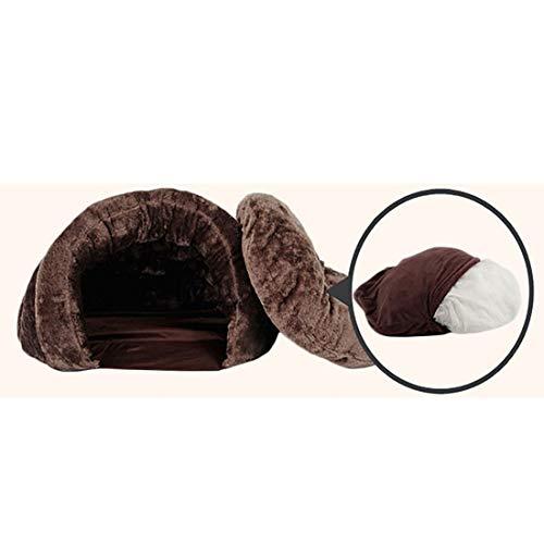 AIHU Ultra-weiches Katze Bett Haustier Sofa warme Umarmung geschlossener Kopf (Verschiedene Größen) Hunde und Katzen Polsterbett, wasserdichter Boden (Color : Brown, Size : M)