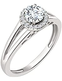 Silvernshine 7mm D/VVS1 Diamond Halo Engagement Ring In 14K White Gold Plated