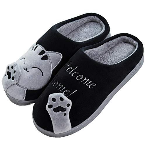 Jianke inverno pantofole donna uomo caldo morbido scarpe da casa peluche gatto ciabatte(nero,40/41)