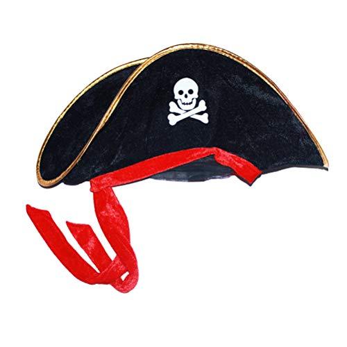 Toyvian Piratenhut Schädel und Crossbone Piratenkostüm Hut Piraten Mütze für Halloween Geburtstag Party Karneval Rollenspiel Zubehör (Halloween Piraten-hüte)