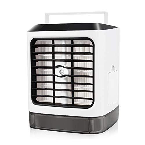 Condizionatore Portatile, 3-in-1 Mini Air Cooler USB Evaporativo Dispositivo di Raffreddamento LED Umidificatore Purificatore Ventilatore ad Aria Condizionata per Casa/Ufficio/Camper/Garage