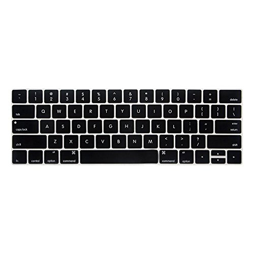 Saco Chiclet Keyboard Skin for Apple MacBook Pro MLUQ2HN/A 13-inch Laptop (Core i5/8GB/256GB/Mac OS/Integrated Graphics), Silver-(Black with Clear)