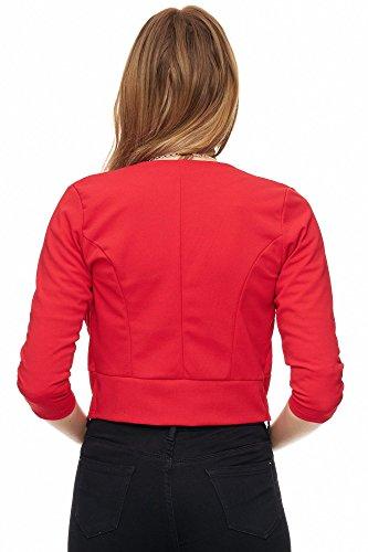 Jillymode Eleganter Damen Blazer PU mit goldenem Zipper kragenlos A1001 A1107-Rot