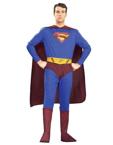 tüm, Superman-Classic-Kostüm, Gr. M, Brustumfang: 96,5 101.60 cm, 30 cm WAIST INSEAM 83.82 86.36 cm, (Kent Clark Halloween Kostüm)