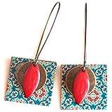 Orecchini, pendenti, fantasia, spirito marocchino, blu e rosso, bronzo, fatto a mano