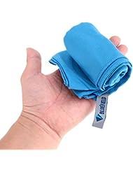 Secado rápido toalla de viaje, pequeño y ligero gimnasio toalla Deportes toalla de microfibra con bolsa de transporte, azul