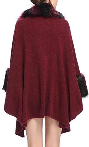 JYR femmes élégantes dames Manteau en fausse fourrure Cape Tricots manches Batwing chaud Shawl Wrap Ponchos Capes red