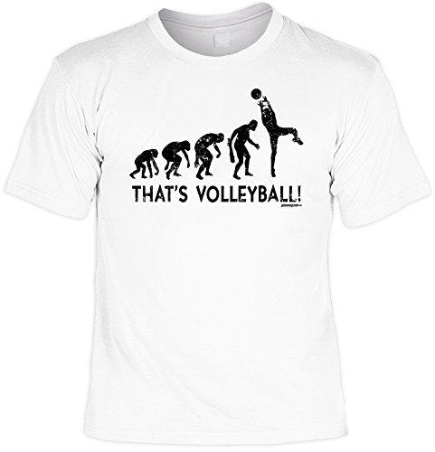 Fun Shirt mit coolem Evolutions Motiv: That s Volleyball! Geschenk für alle Volleyballspieler! Geburtstag - Farbe: weiss Weiß