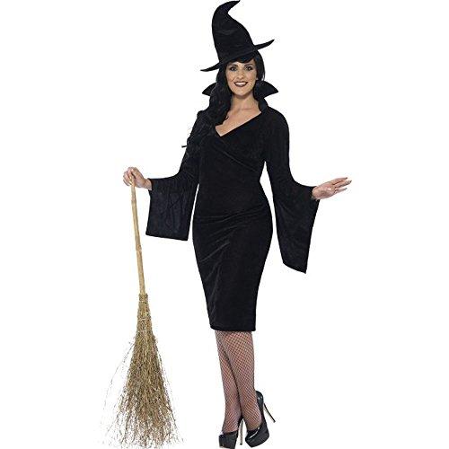 Halloween Plus Size Damen Kostüm Hexe Hexenkostüm in schwarz (Size Kostüm Hexe Plus)