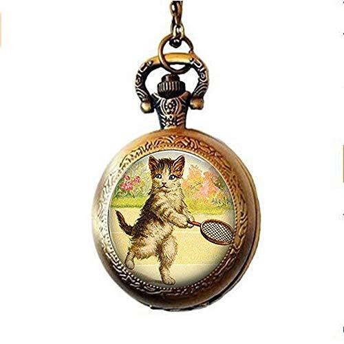 Taschenuhr, Halskette, Katzenschmuck, Katzen-Cabochon-Glas, Taschenuhr, Halskette, Tennisspieler, Geschenk für Tennisspieler, Tennis-Taschenuhr, Halskette -