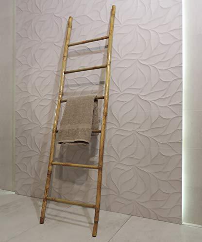 Scala scaletta design piantana portasciugamani in legno bamboo per bagno, camera